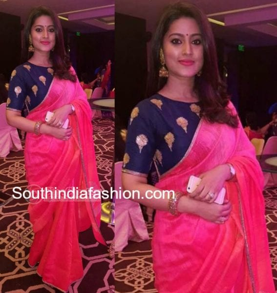 sneha_prasanna_plain_pink_saree_blue_boat_neck_blouse