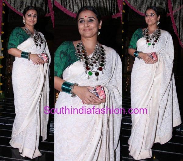 vidya balan white saree gaurang shah bachchans diwali party 600x526