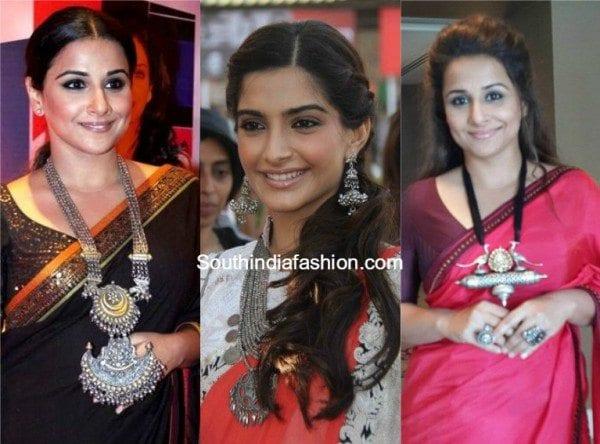 vidyabalan_sonam_kapoor_silver_oxidised_jewellery