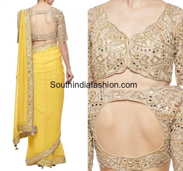 yellow-saree_mirror_work_blouse_arpita_mehta