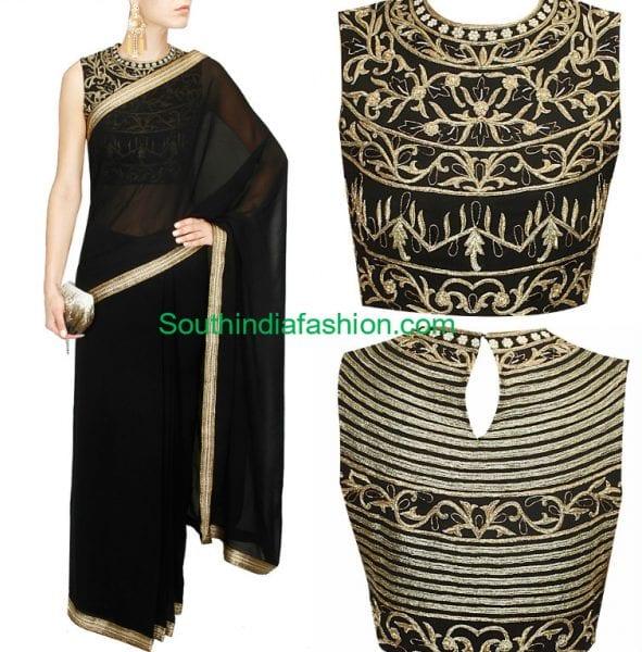 black-saree-gold-blouse