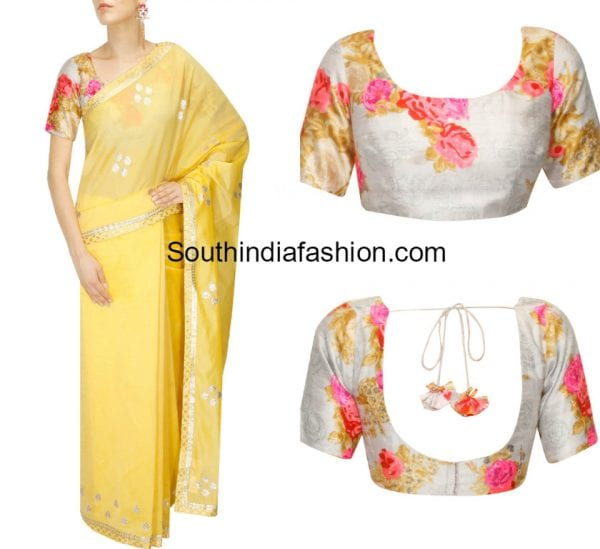 chanderi-saree-with-floral-blouse