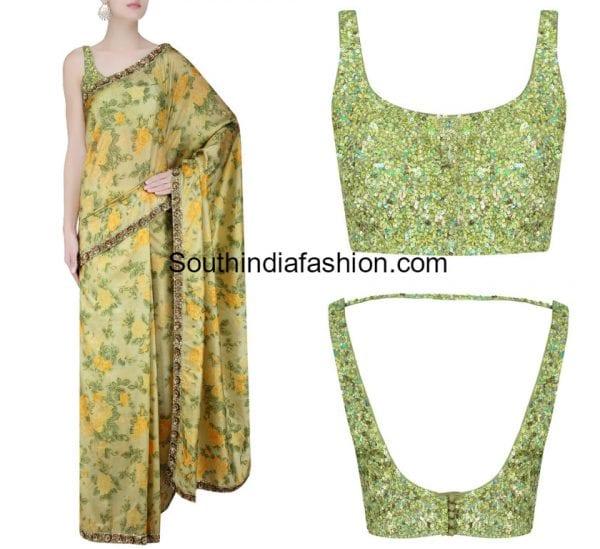 floral-saree-sequins-blouse