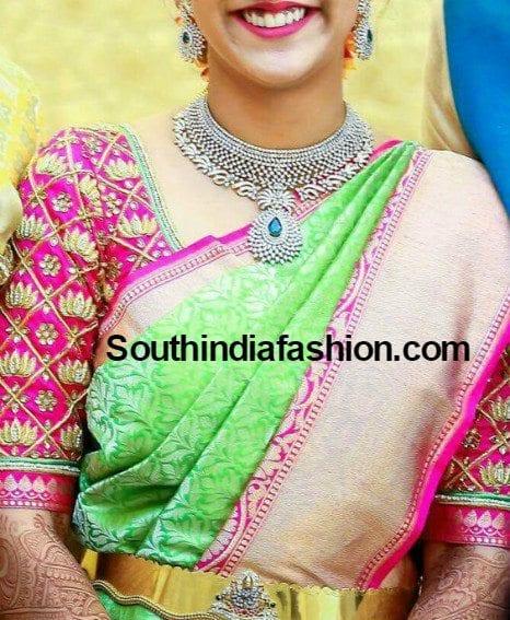 3c8dcd8580319e Lotus Design Maggam Blouse For Silk Sarees – South India Fashion