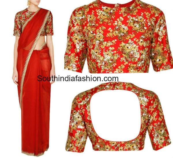 plain-red-saree-floral-embroidered-blouse-sabyasachi