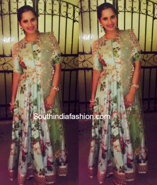 Sania Mirza in Anushree Reddy Anarkali