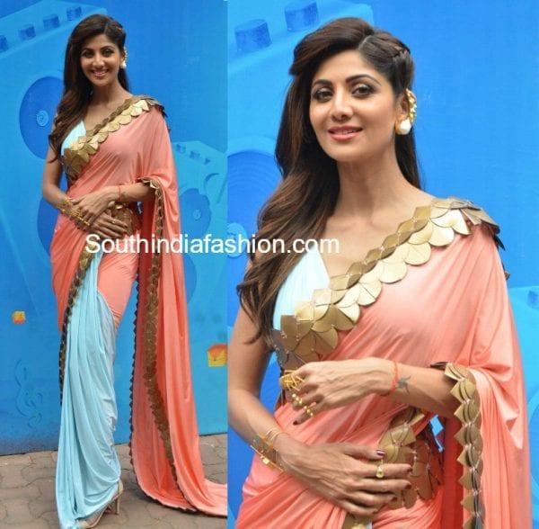 shilpa-shetty-blue-peach-saree-super-dancer