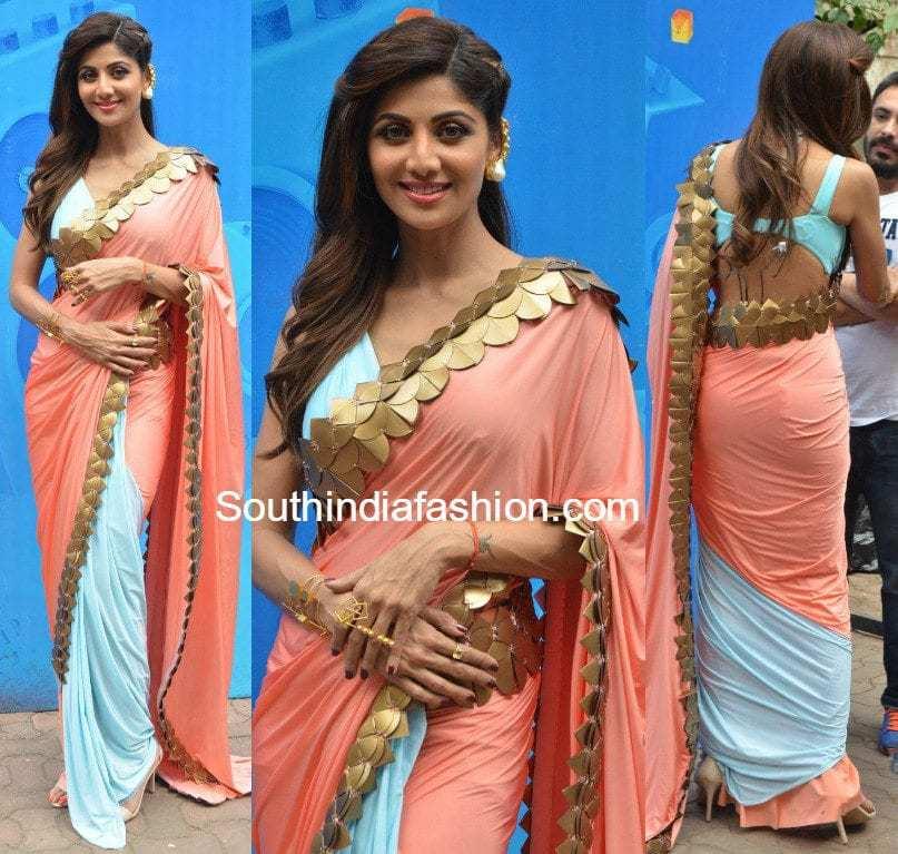 Shilpa Shetty In Shivan And Narresh Saree South India Fashion