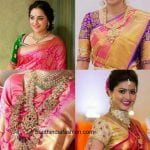Four Blouse Matching Choices with Pink Bridal Kanjeevaram Saree