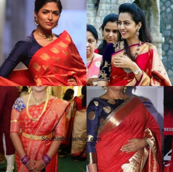 deep_blue_blouse_red_saree