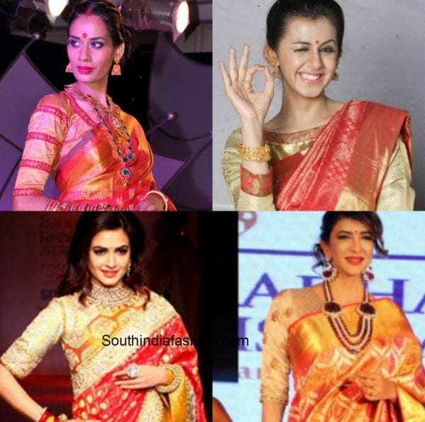 gold_blouse_red_kanjeevaram_saree