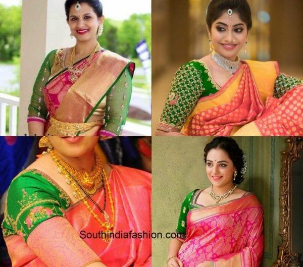 73f110d64d3e34 Four Blouse Matching Choices with Pink Bridal Kanjeevaram Saree
