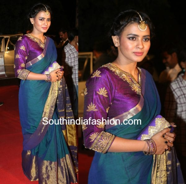 hebah-patel-silk-saree-gemini-tv-pushkaralu