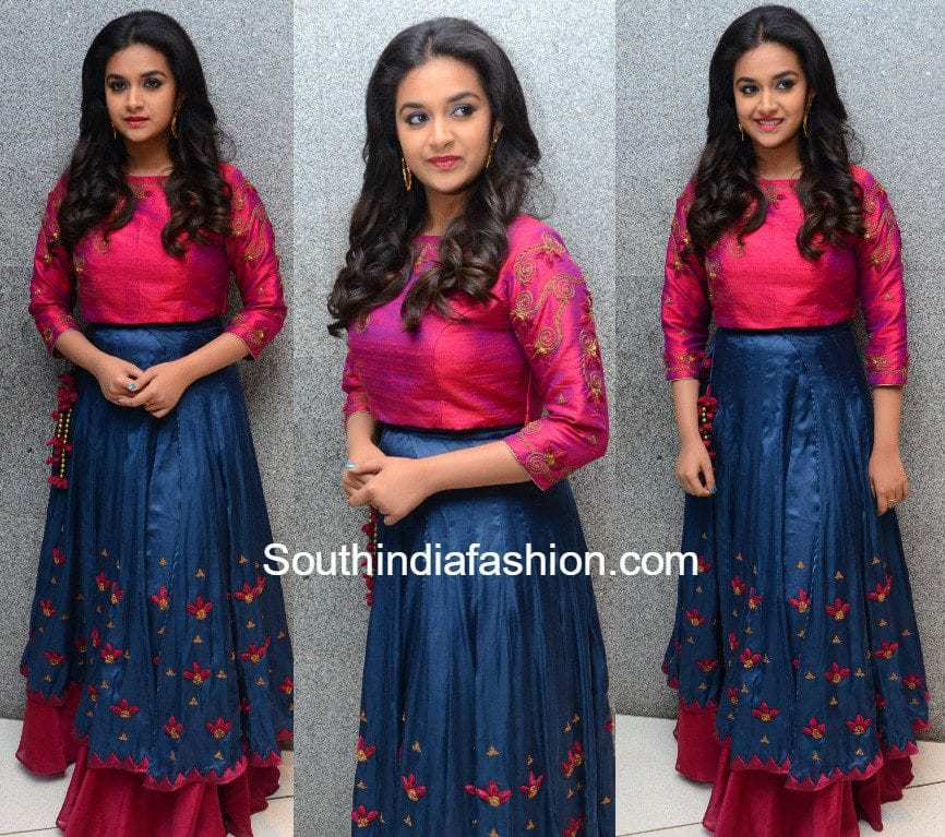 Keerthy Suresh In A Long Skirt And Crop Top South India