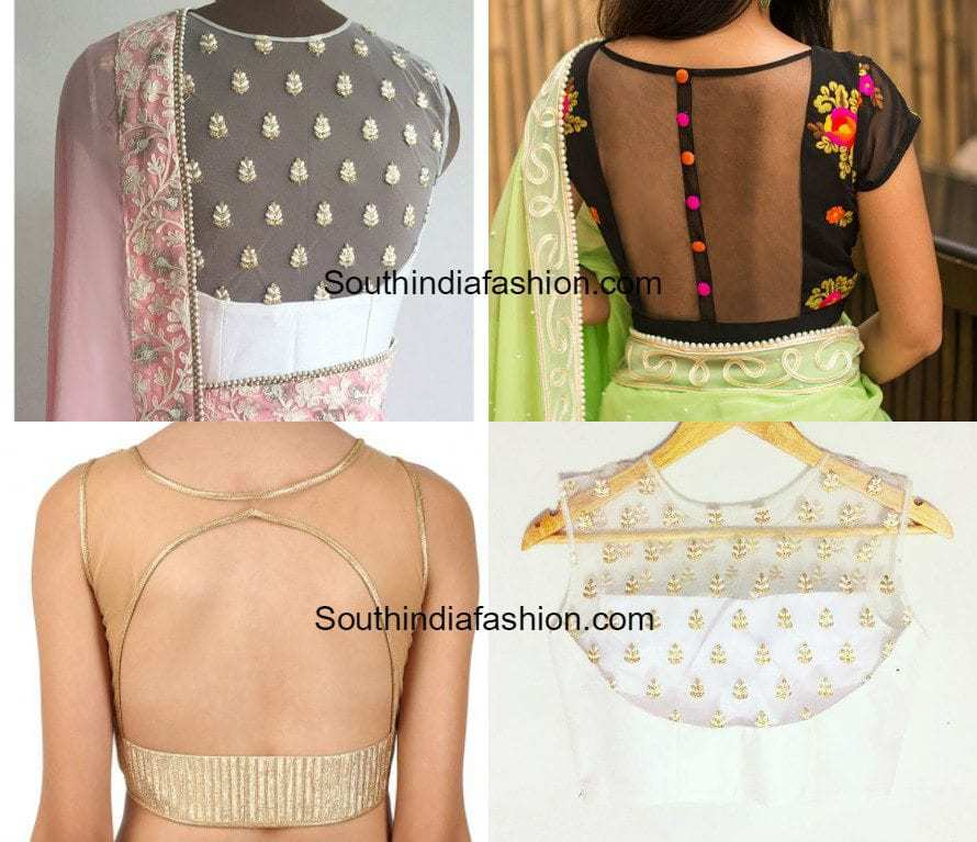 Net Back Neck Blouse Designs South India Fashion