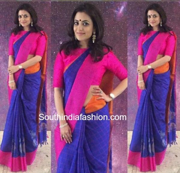 nisha-aggarwal-blue-silk-saree-kala-sangam
