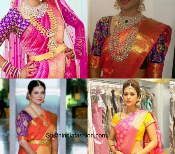 Four Blouse Matching Choices With Pink Bridal Kanjeevaram
