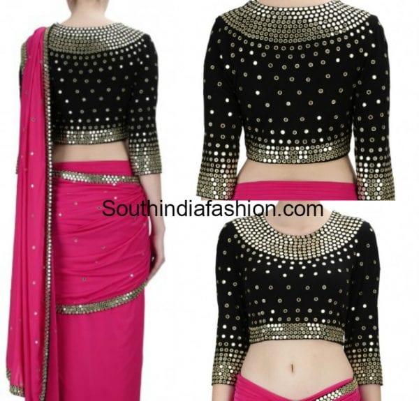 pink-saree-black-mirror-work-blouse