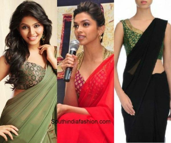 8090921fff920 Plain saree with floral blouse