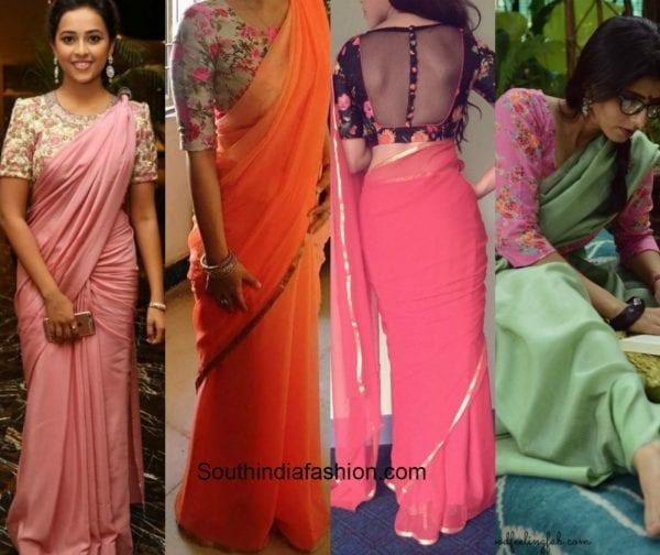 1f02a2f27ae48 Plain saree with kalamkari blouse