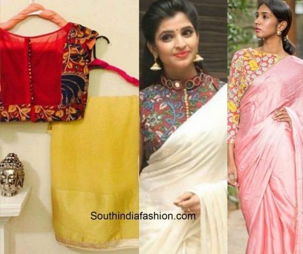 plain_saree_kalamkari_blouse-1