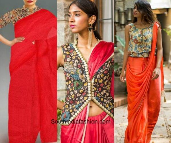 plain_saree_kalamkari_blouse