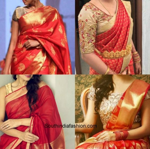 red_saree_gold_blouse