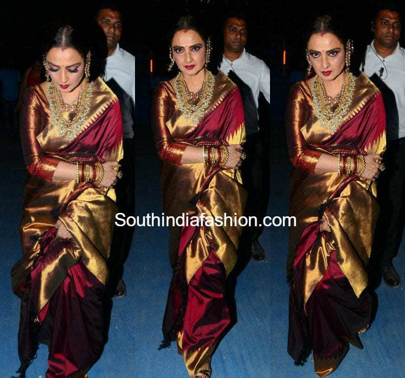 Rekha In A Kanjeevaram Saree South India Fashion