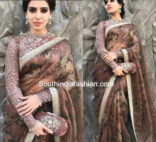 samantha-prabhusabyasachi-saree-akhil-engagement