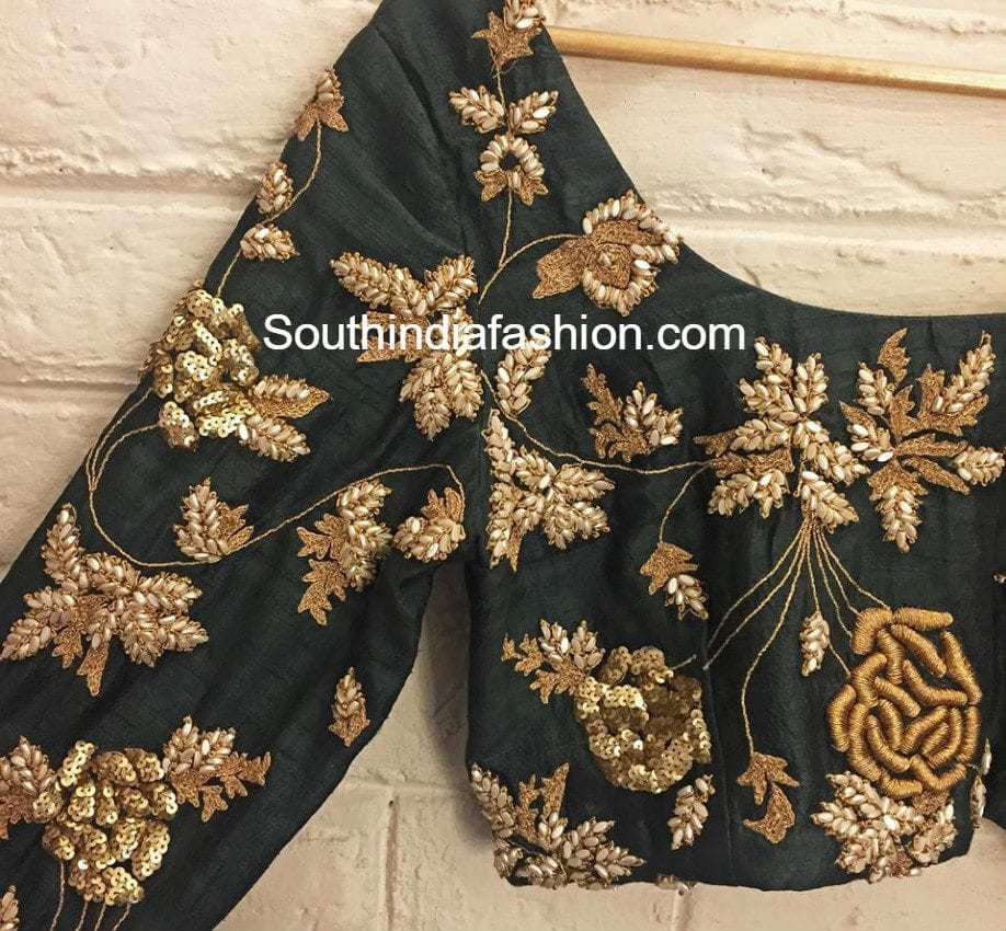 Latest Embroidered Blouse Designs South India Fashion