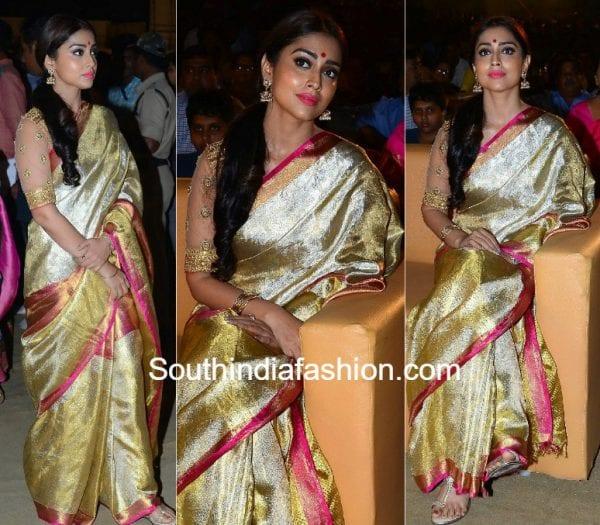 Shriya Saran in a gold kanjeevaram saree