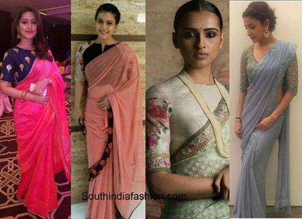 sneha_kajol_anushka_simple_saree_high_neck_blouse