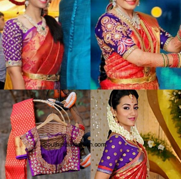 violetpurple_blouse_red_kanjeevaram_saree