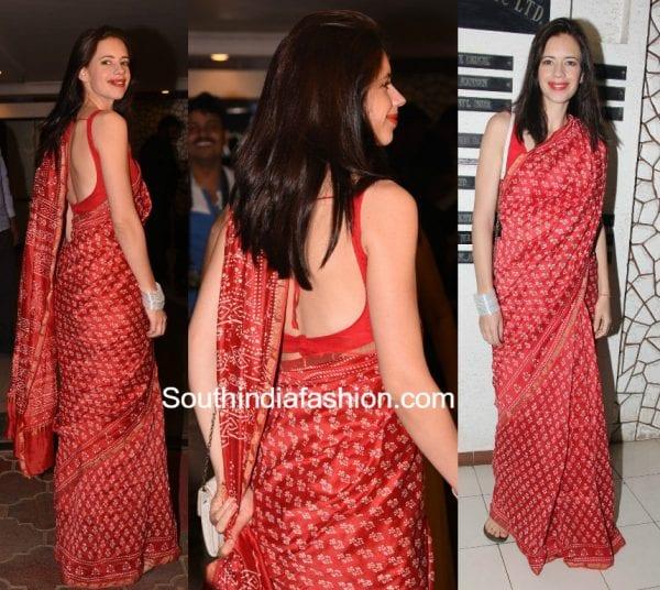 Kalki Koechlin in a red printed saree