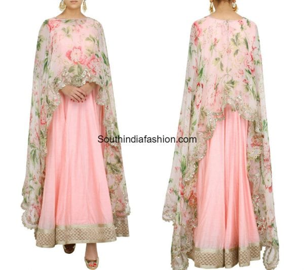 RAW SILK ANARKALI WITH FLORAL CAPE 600x532