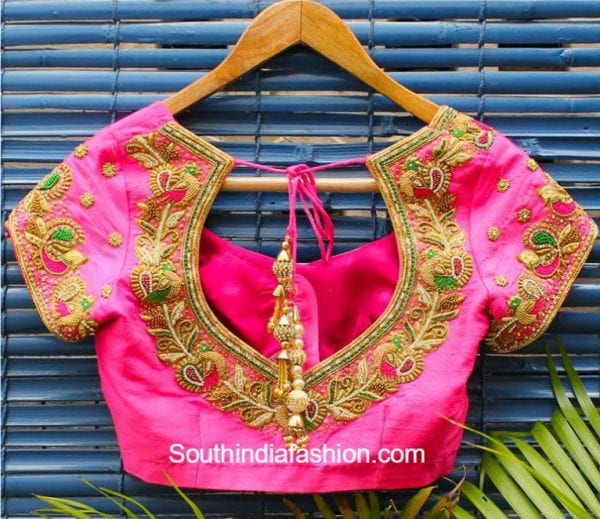 Maggam Work Blouse Designs For Silk Sarees South India