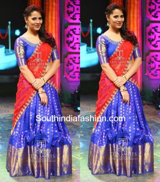 Anchor Anasuya in Kanchi Pattu Half Saree