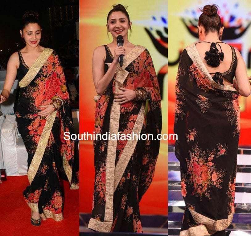 anushka-sharma-in-a-black-floral-saree