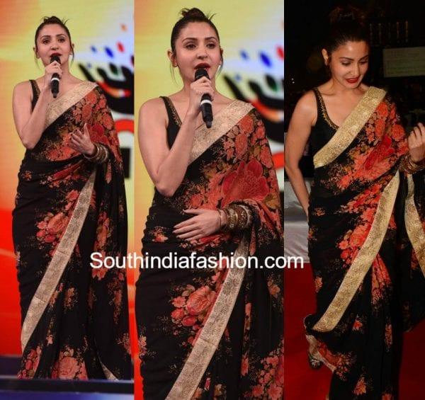 anushka sharma umang 2017 black floral saree 600x565