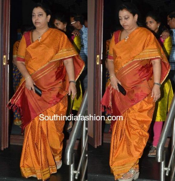 Vasundhara in a silk saree