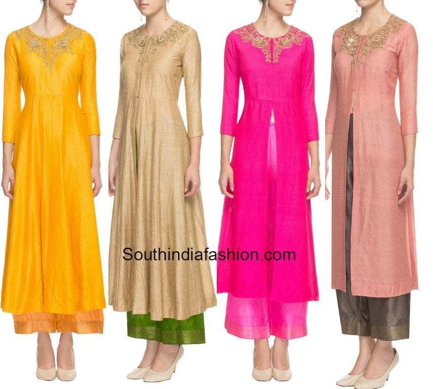 Trends 2017 fashion india - Front Slit Kurtas With Palazzos South India Fashion
