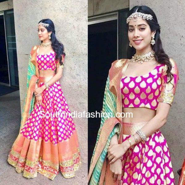 Sridevis Daughters In Manish Malhotra Lehengas At Keshav Amp Veenas Wedding South India Fashion