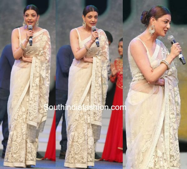 Kajal Aggarwal in Sabyasachi Saree at Khaidi No.150 Pre Release Event