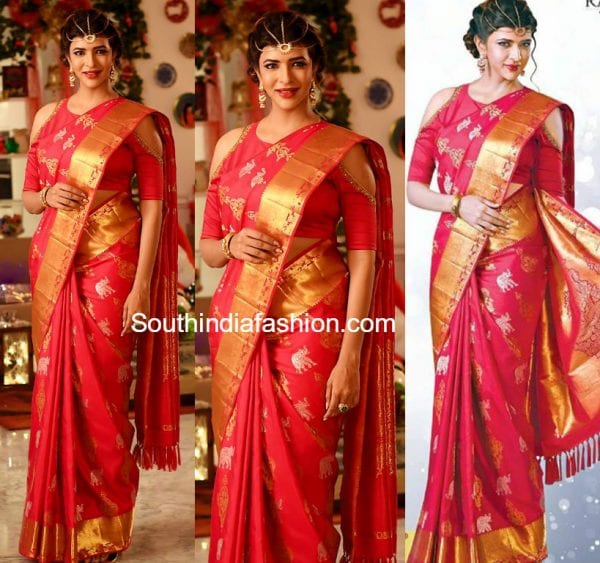 lakshmi-manchu-silk-saree-shoulder-cut-out-blouse