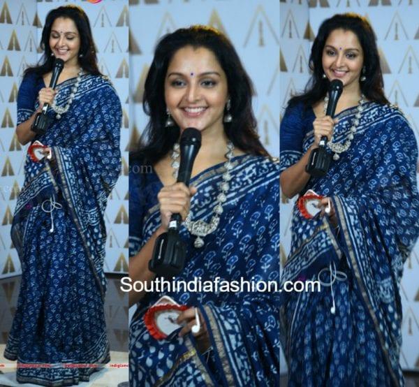 manju-warrier-blue-saree-asianet-awards-2017