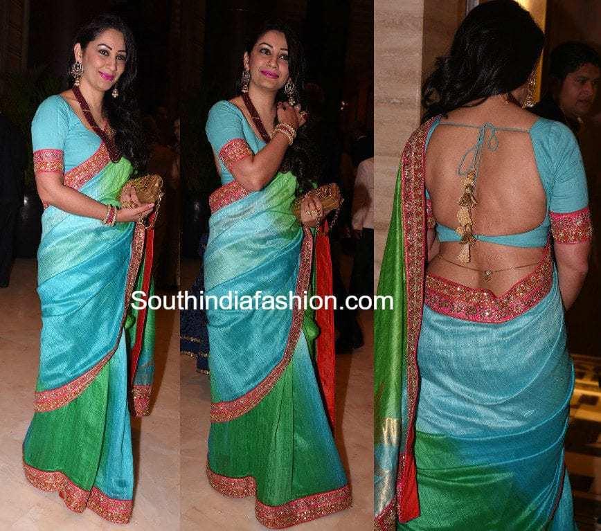 Manyata Dutt In A Dual Shaded Saree –South India Fashion