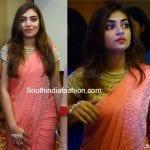 Nazriya Nazim in a peach saree