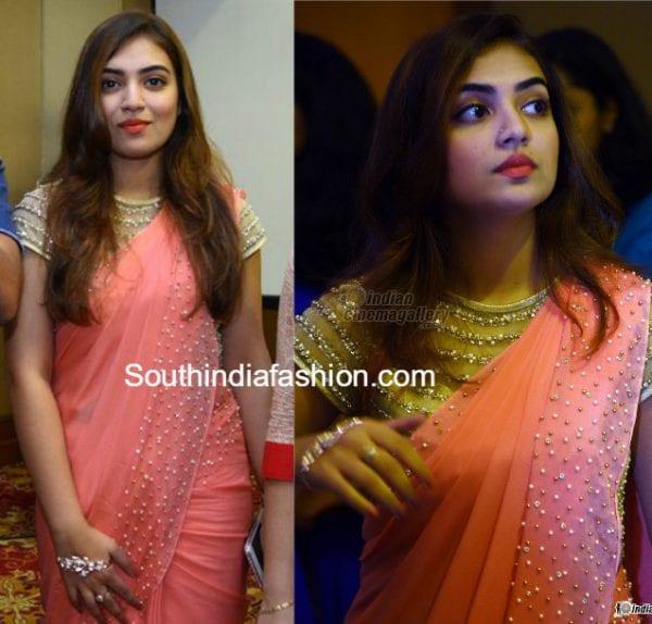 nazriya nazim in a peach saree � south india fashion