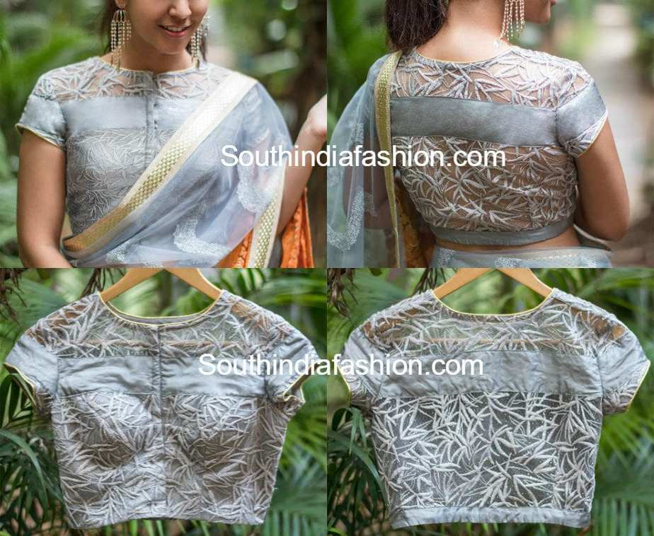 Latest Net Blouse Designs For Sarees South India Fashion