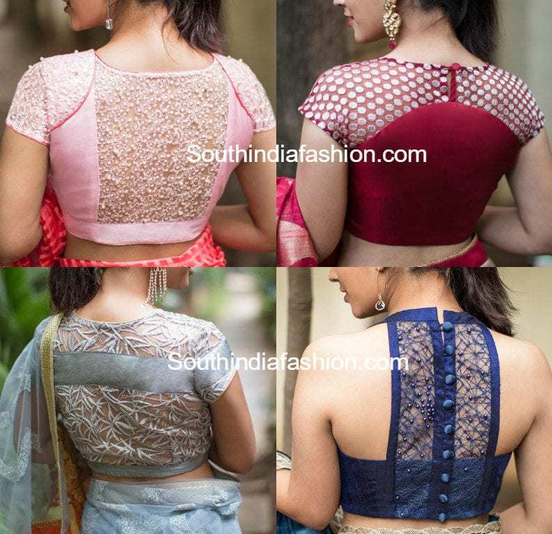 latest net blouse designs for sarees � south india fashion